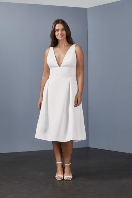 Deep V-neck dress Little White Dress by Amsale