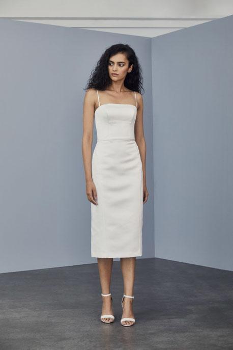 Little white dress by Amsale Duchess Satin Sheath Dress