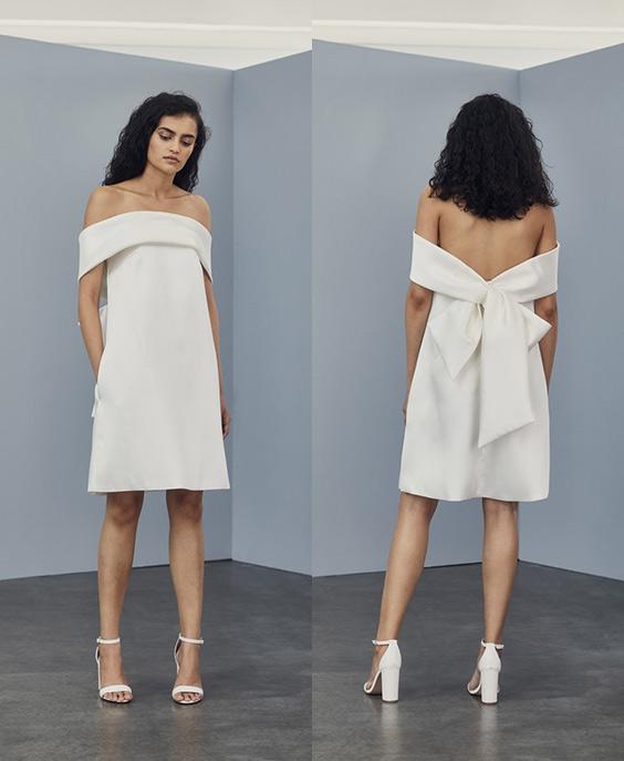 Bow Back Shift Dress - Little white dress by Amsale